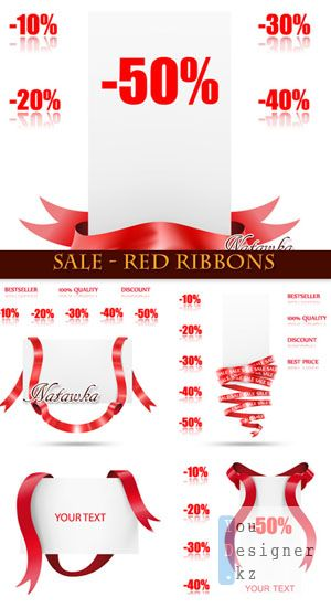 Sale - Red Ribbons vectors
