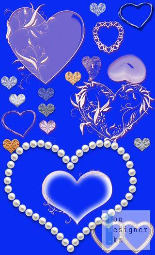 Клипарт-Сердечки для оформления фото