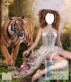 Шаблон для фотошоп - Девочка с тигром_!