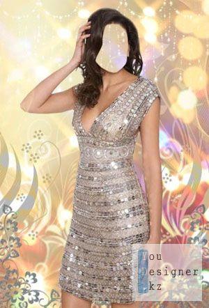 Шаблон для фотошоп -Блестящее платье