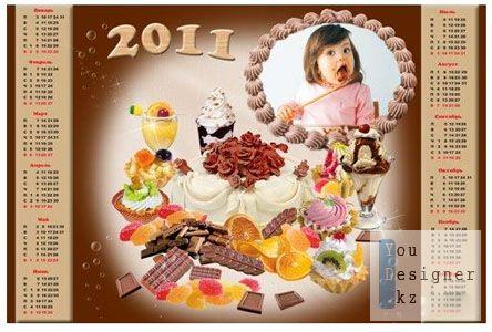 Рамка-календарь на 2011 год - Сладкоежка