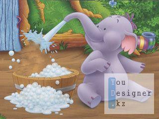 Шаблон для монтажа-Слон и малыш