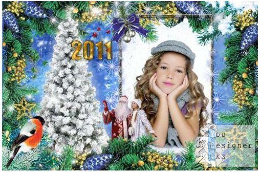 Новогодняя рамка для фотошоп – Снегирь на ветке