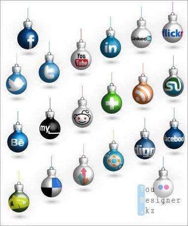 Векторные новогодние шары - Социальные медиа / Vector Social Christmas Balls