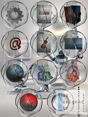 Иконки в стеклянной сфере / Spheric Icon