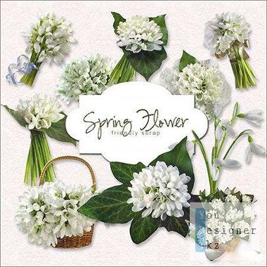 Скрап-набор - Белые цветы / Scrap kit - white flowers