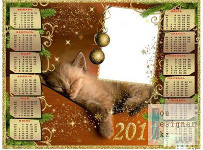 Рамка – календарь для фото – Спящий котик