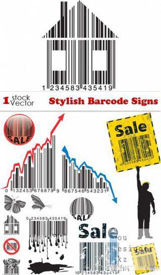 Векторный набор стильных - штрих кодов / Stylish Barcode Signs Vector