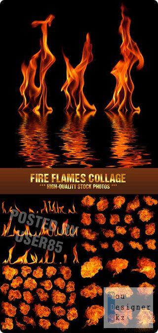 Фото сток - Огненные рамки /  Stock Photo - Fire Flames Collage