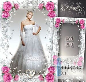 Свадебная рамка - Розовые розы, элегантность и роскошь / Wedding photo frame - Pink roses, elegance and luxury