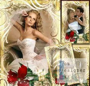 Свадебная рамка - Розы в кольцах / Wedding frame - Roses in the rings