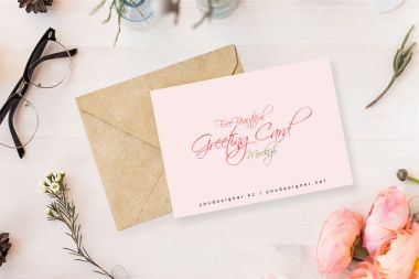 Ticket Mockup Flowery Invitation Card Mockup