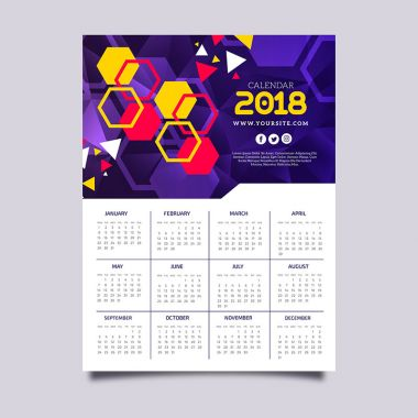 2018 calendar with colorful hexagons