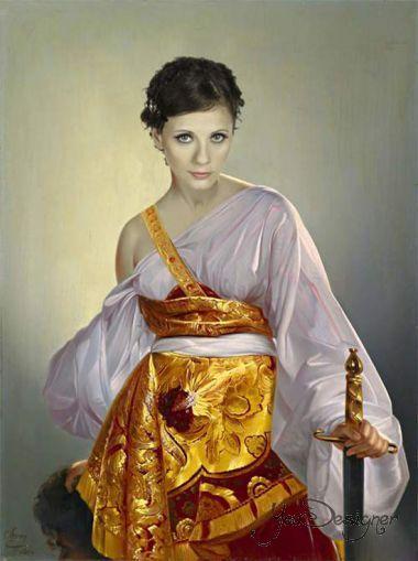 Photomontage - Portrait of a beautiful female warrior XVIII century