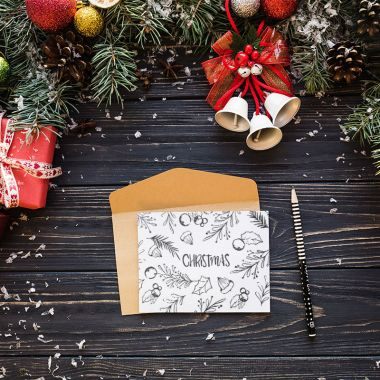 Elegant letter mockup with christmas design