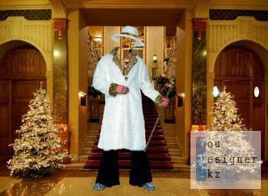 Шаблон для фотомонтажа - Миллионер в белой шубе / Template for photomontage - Millionaire in a white fur coat