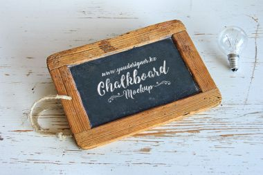 Chalkboard with wooden Frame Mockup