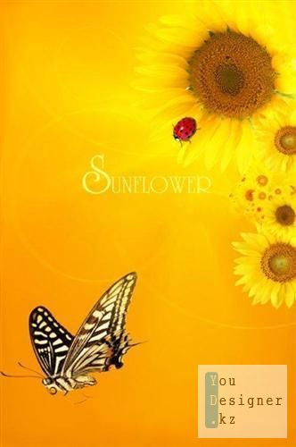 Multi-layer PSD - Sunflowers with ladybug and butterfly