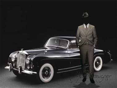 Template for Photomontage - A man near a black Bentley