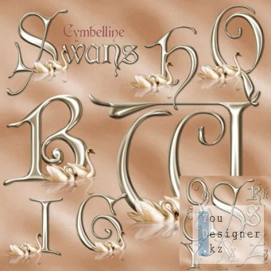 Elegant alphabet with swans