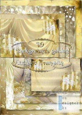Золотые фоны с цветами / Gold backgrounds with flowers