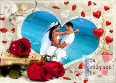 Romantic frame for photoshop - Be my Valentine