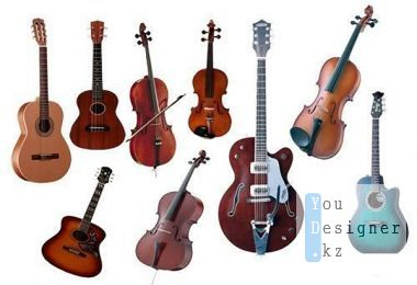 Collection of guitars and violins in the PSD
