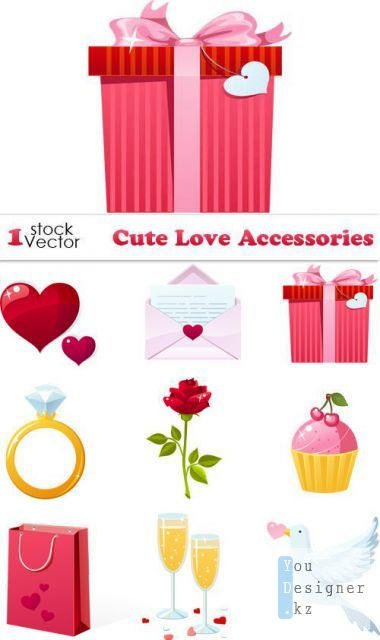 Cute Love Accessories Vector