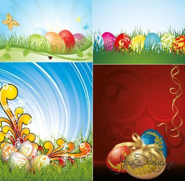 Colored and Golden eggs with a bow on the grass (Vector)