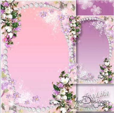 Flower photo frame - Pearls and flowers, the beauty and charm of the