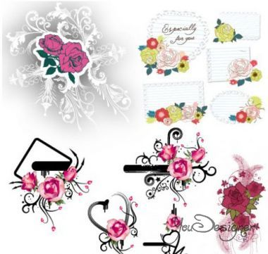 Decorative flowers and floral elements (Vector)