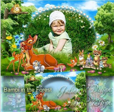 Children's frame with the heroes of the cartoon - Bambi in the forest