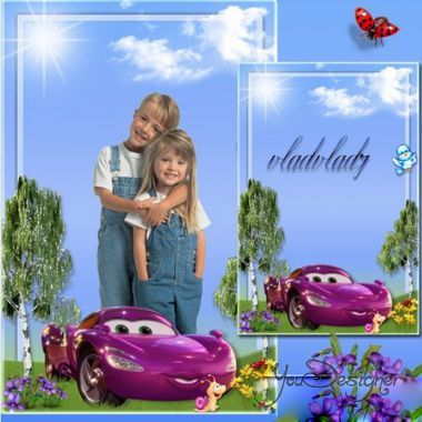 Children's photo-frame - Cars on picnic