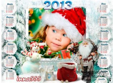 Children's calendar-the frame by 2013 with Grandfather frost and the snowmen