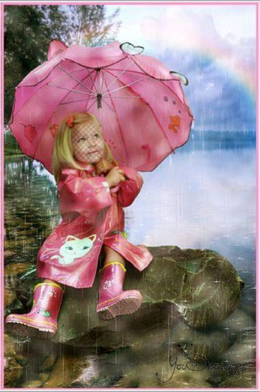 Children's template for the photomontage - Summer rain