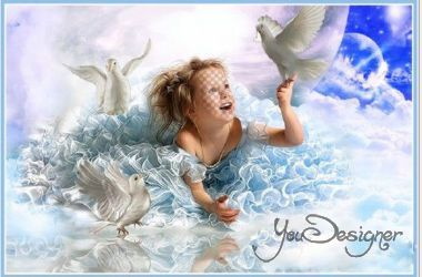 Children's template for the photomontage - Heavenly birds