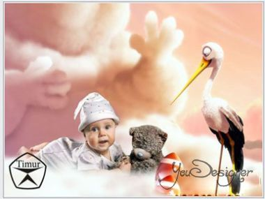 Children's template for photoshop - Baby and the stork