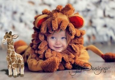 Children's template for Photoshop - My lion is hunting