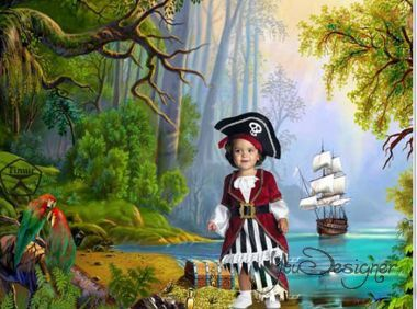 Children's template for photoshop - On the island of pirates 2