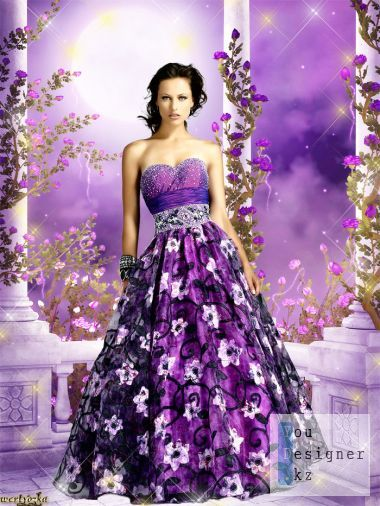 Girl in a dress the color lilac