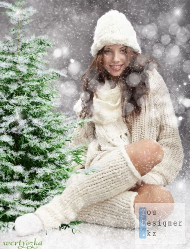Winter template for photomontage - Girl in fluffy snow flakes
