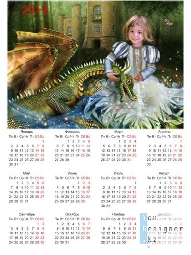 Calendar-template 2012 for Photoshop - Girl and a dragon