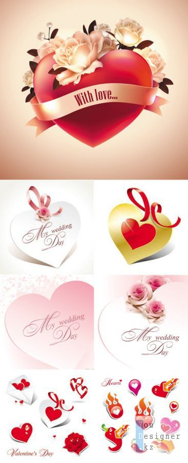 Elegant Hearts Vector