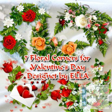 PSD clipart-Floral corners on the day of St. Valentine