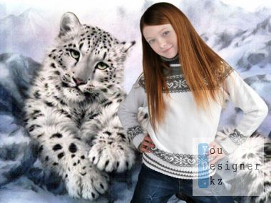 Kids psd templates - Photo of the snow leopard