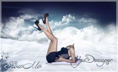 Photoshop - Girl's dream in the bosom of the clouds