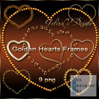 Gold Hearts Frames PNG