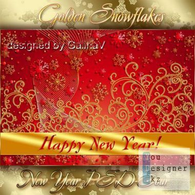 New year's template - Golden snowflakes
