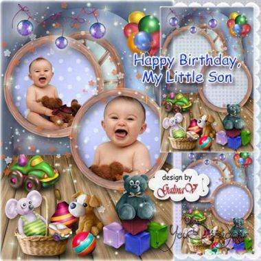 Children's holiday photo frame - Happy birthday, son