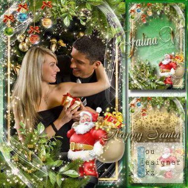 Новогодняя семейная рамка - Счастливый Санта Клаус / New year's family frame - Happy Santa Claus